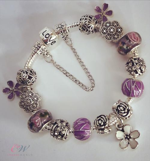 Details About Silver Plated Charm Bracelet Or Bangle Purple Flower Charms Murano Beads